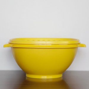 Vintage Tupperware Yellow Servalier Bowl with Lid